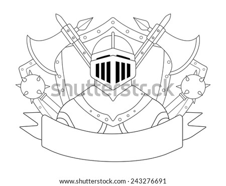 Medieval knight logo. Helmet, armor, mace, ax, shield, sign. Vector contour lines clip art illustration isolated on white - stock vector