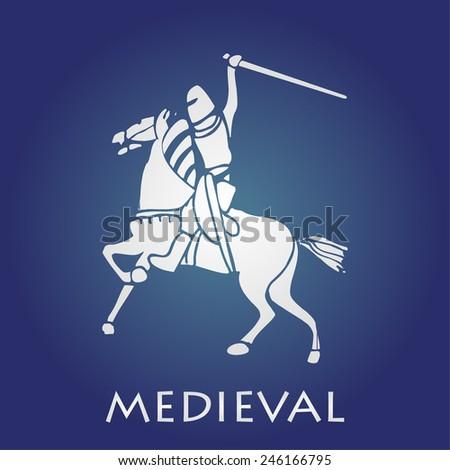Medieval knight on horse. vector illustration - stock vector