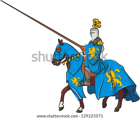 Medieval Knight On Horse Drawing Medieval knight on horseback