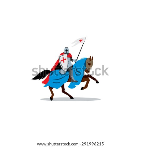 Medieval knight on horseback, preparing for joust or fight sign. Vector Illustration. Branding Identity Corporate logo design template Isolated on a white background - stock vector