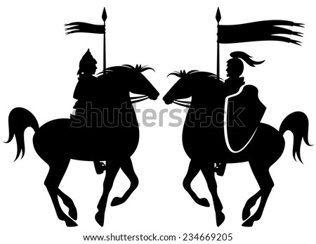 medieval knight riding prancing horse black vector silhouette over white - stock vector