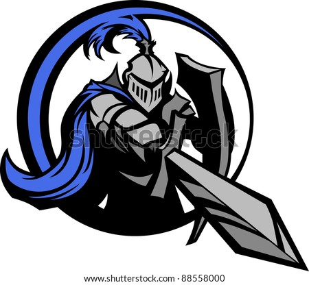 Medieval Knight Wearing Armor Vector Holding a Shield and Pointing a Sword - stock vector