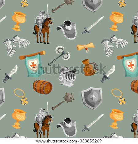 Medieval knight with armor and weapon cartoon seamless pattern vector illustration - stock vector