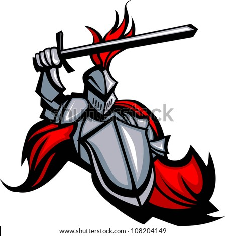 Medieval Knight with Sword and Shield Vector Mascot - stock vector