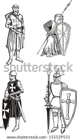 Medieval knights. Set of black and white vector illustrations. - stock vector