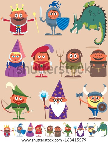 Medieval People: Set of 10 cartoon medieval characters. Below are the same characters customized for white background. No transparency and gradients used.   - stock vector