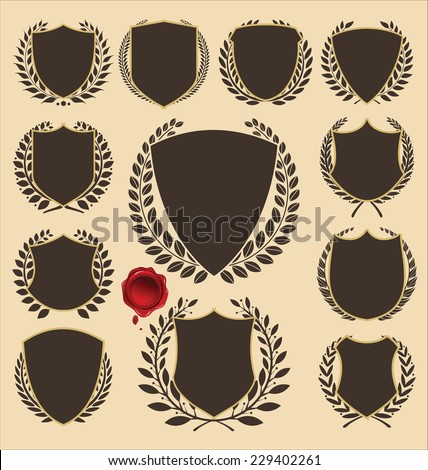 medieval shields and laurel wreath collection - stock vector