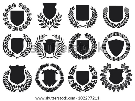 medieval shields and laurel wreath collection (shields with laurel wreath set, shields set) - stock vector