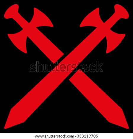 Medieval Swords vector icon. Style is flat symbol, red color, rounded angles, black background.