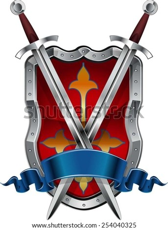 medieval swords with shield and banner - stock vector