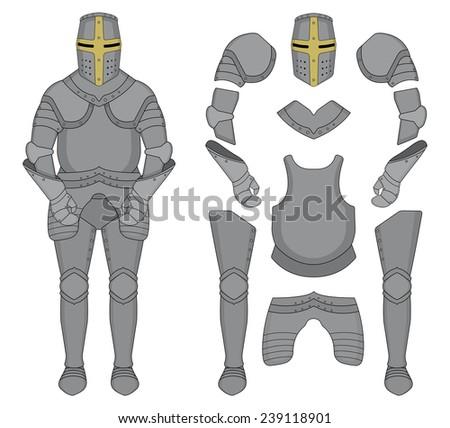 Medieval templar knight armor set. Helmet, shoulders, gloves, breastplate, leggings. Color clip art vector illustration isolated on white - stock vector
