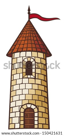 medieval tower (old castle) - stock vector