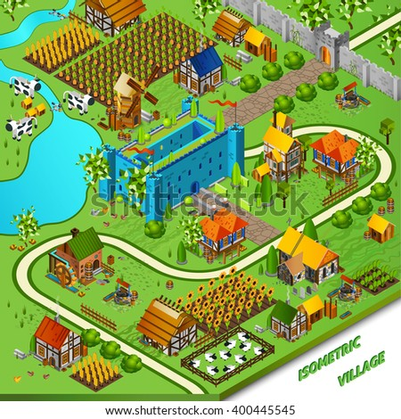 Medieval village and castle background with mill well and houses isometric vector illustration