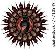 Medieval warrior shield crest with helmet. Vector illustration. - stock vector