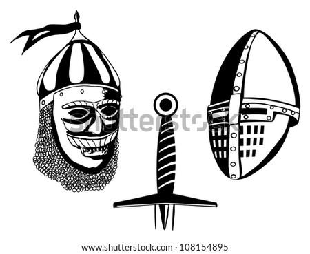 Medieval warriors helmets and sword, vector illustration - stock vector