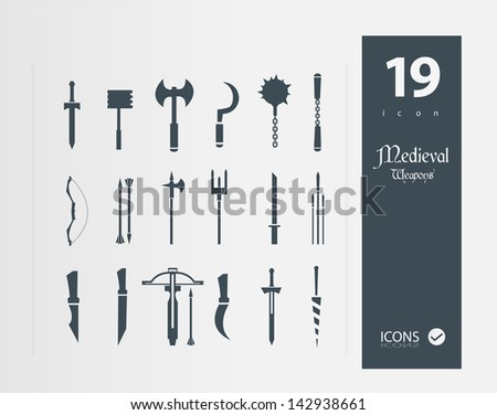 medieval weapons icons ( set of 19 Quality icon ) - stock vector