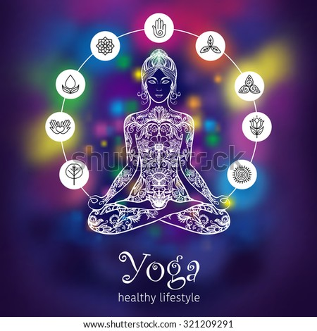 Meditating in crossed-legged yoga lotus pose woman with 7 chakras symbols poster colorful background abstract vector illustration - stock vector