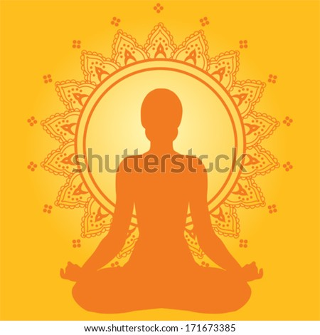 Meditating woman on yellow indian style background - stock vector