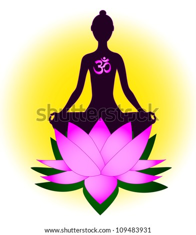 Meditating woman with om symbol and lotus - stock vector