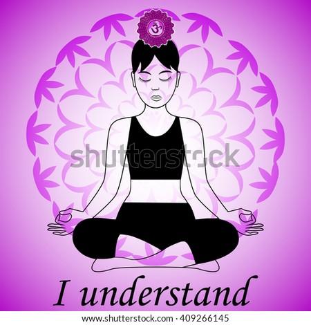 Meditating women. Sahasrara chakra activation. I understand. - stock vector