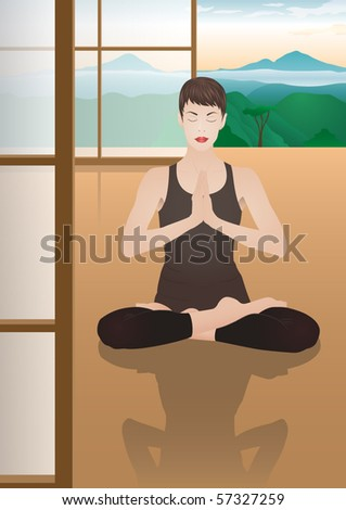 Meditating young pretty woman in quiet room with a nice view