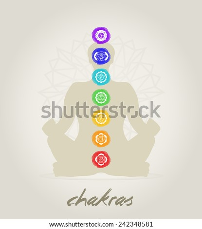 Meditation body with the seven Chakras - stock vector