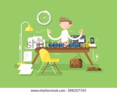 Meditation businessman in office - stock vector