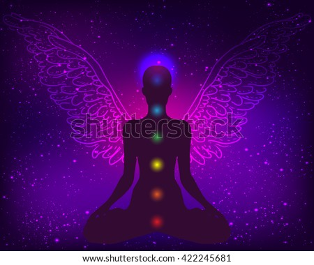 Meditation concept. Silhouette in lotus position with wings over night sky background. Vector illustration. New age symbol, inner light, sacred geometry, kundalini, chakra, natural healing. - stock vector