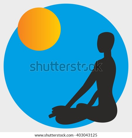 Meditation in front of moon sun