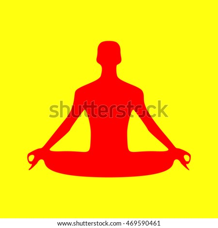 Meditation man sign illustration. Red on yellow background.