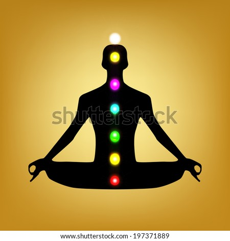 meditation man silhouette with chakras - stock vector