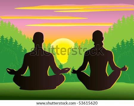 Meditation vector - stock vector