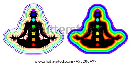Meditation woman - aura, chakras - vector