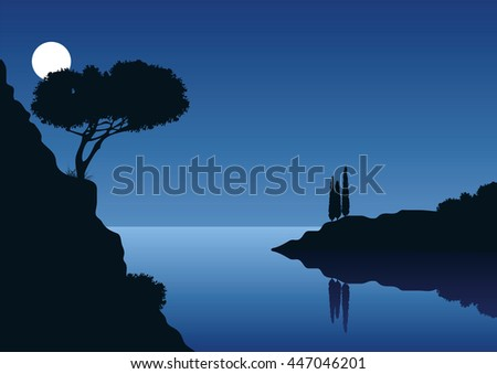 mediterranean coast landscape with full moon and the sea - stock vector