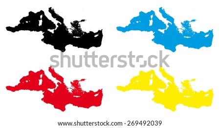 mediterranean sea maps - stock vector