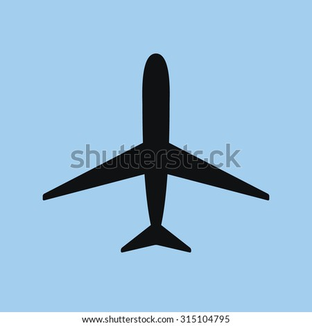Medium detailed airplane icon. For use in small sized navigation, infographics and maps. - stock vector