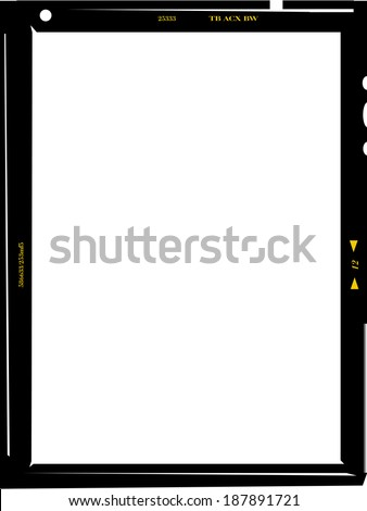 medium format negative photo frame, free copy space, isolated, vector illustration - stock vector