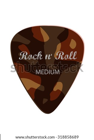 Medium Guitar Pick with Rock and Roll text. Editable Clip art. - stock vector