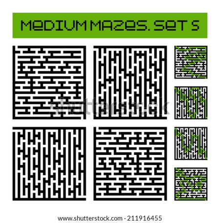 medium mazes set 5 - stock vector