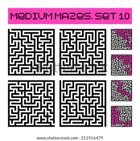 medium mazes set 10 - stock vector