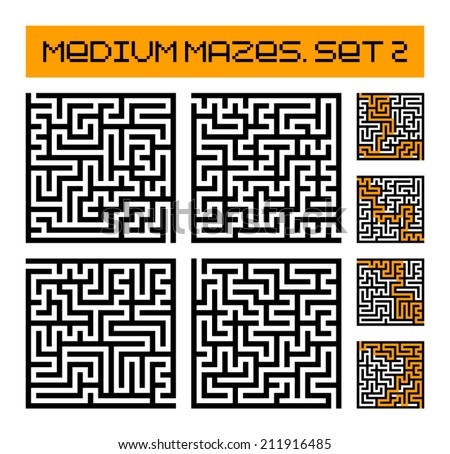 medium mazes set 2 - stock vector