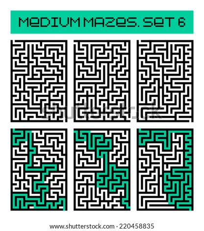 medium mazes set 6 - stock vector
