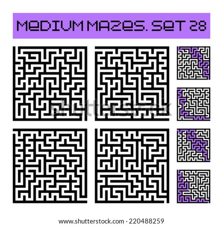 medium mazes set 28 - stock vector