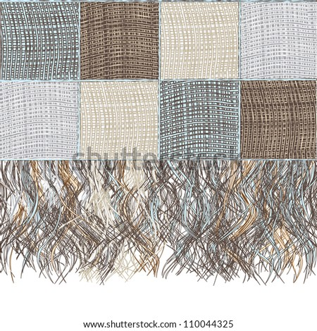 Medley checkered woolen plaid with fringe - stock vector