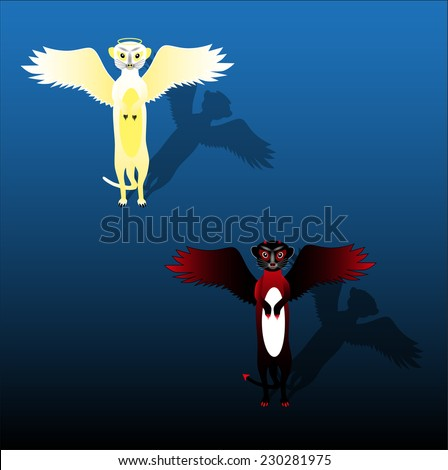 Meerkats Angels and Demons on a blank background - stock vector