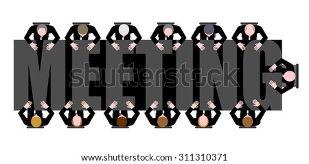 Meeting a long table. People work in Office. Boss, Chief commands. Vector illustration of Office life.