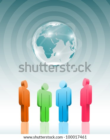 Meeting about world. Vector illustration. - stock vector