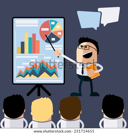Meeting businessman pointing presentation infogarhics board concept in flat design style cartoon. Business man pointing presentation board with graph charts - stock vector