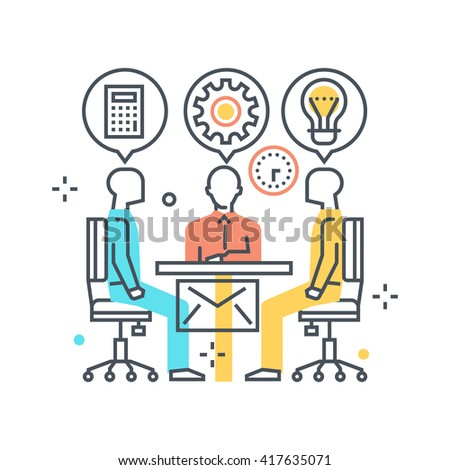 Meeting concept illustration, icon, background and graphics. The illustration is colorful, flat, vector, pixel perfect, suitable for web and print. It is linear stokes and fills. - stock vector