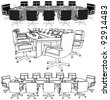 Meeting Conference Table Vector 02 - stock photo
